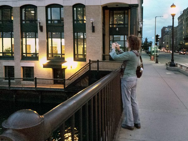 Michele Boll, taking photos early evening in Boston 2015