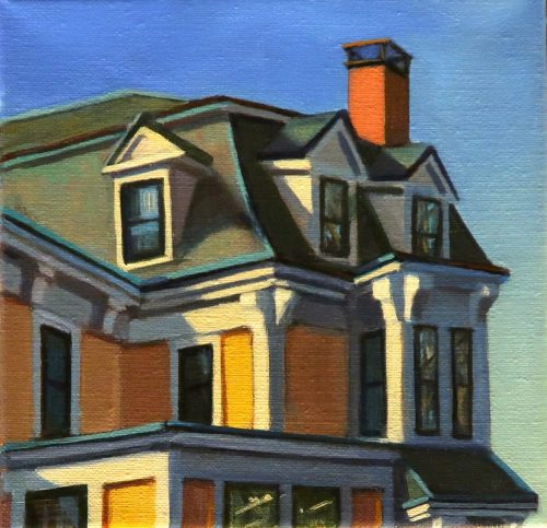 "Yellow House Salem, Acrylic on Linen 6"" x 6"""